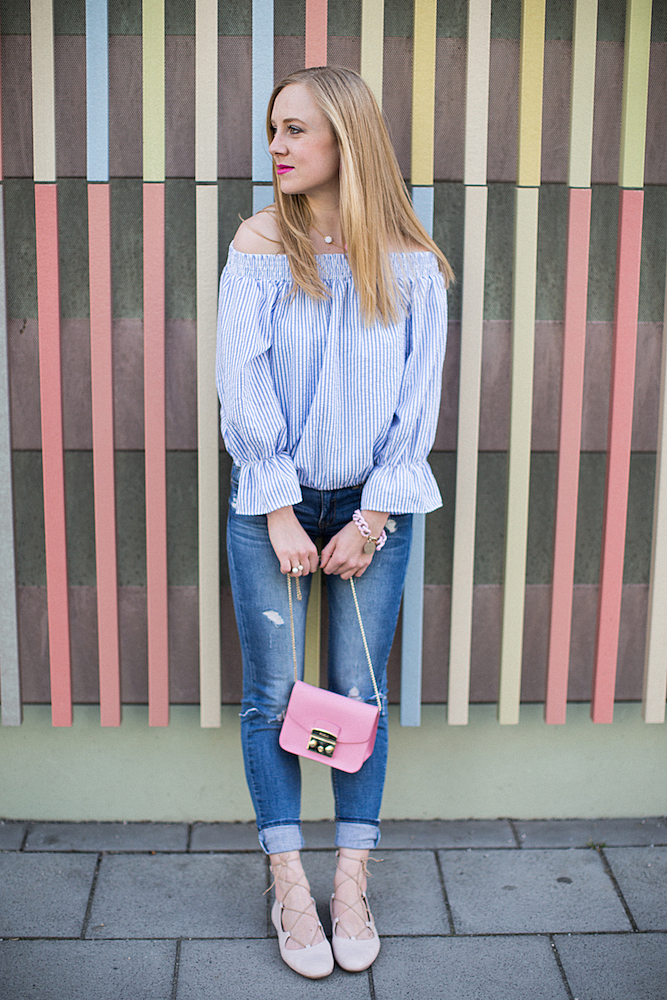 Furla Metropolis, shein off shoulder top, j crew necklace, lace up ballerinas, vanessa baroni bracelet