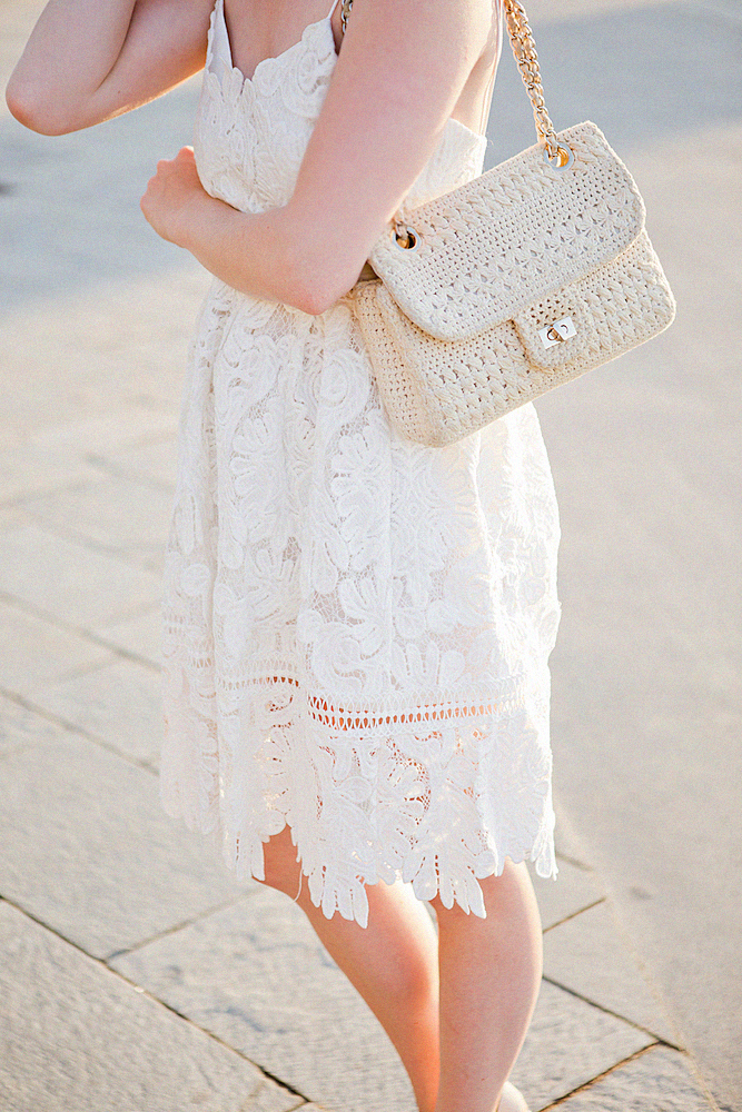 chicwish lace dress _ oasis wedges _ barceloneta beach