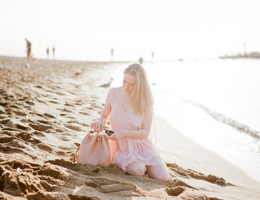 mango chiffon dress _ coccinelle bucket bag _ barceloneta beach