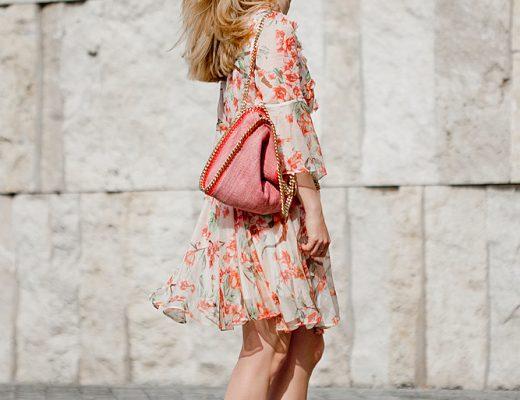 Chicwish Full of peach blossoms dress, chicwish chiffon flower dress _ chicwish Full of Peach Blossoms Chiffon Pleated Dress _ Nelly pumps _ Stella McCartney bag