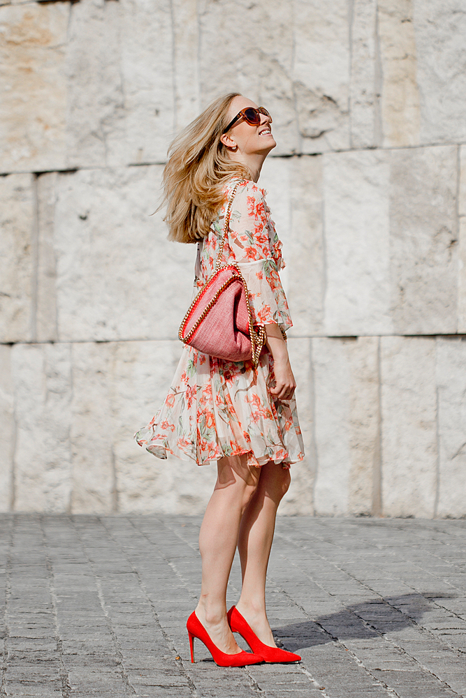 Chicwish Full of peach blossoms dress, chicwish chiffon flower dress _ chicwish Full of Peach Blossoms Chiffon Pleated Dress _ Nelly pumps _ Stella McCartney bag