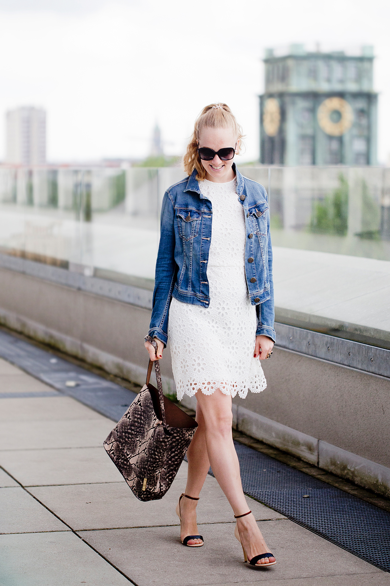 lace dress river island _ blue fire jeans jacket _ sandals twin set