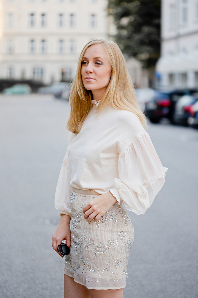 warehouse chiffon pullover look with sequin skirt mary jane pumps asos