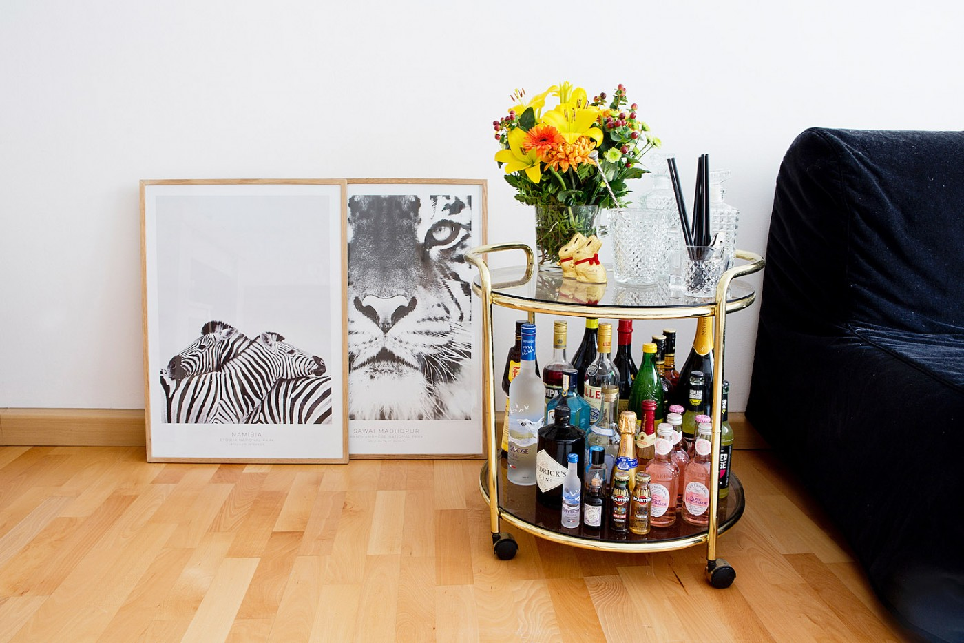 English) News from the living room safari poster, bar cart & Kartell ...