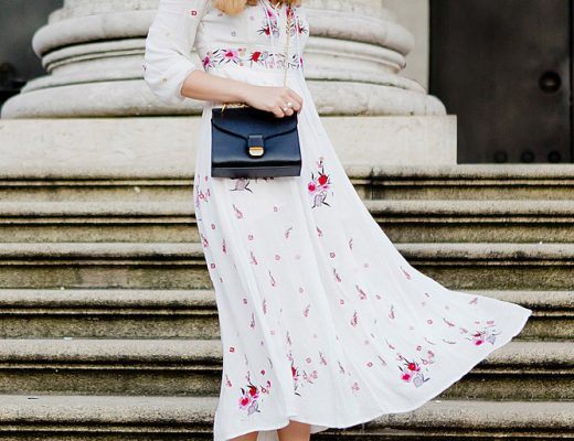 chicwish embroidered maxi dress _ coccinelle bag _ bcbg maxazria sandals