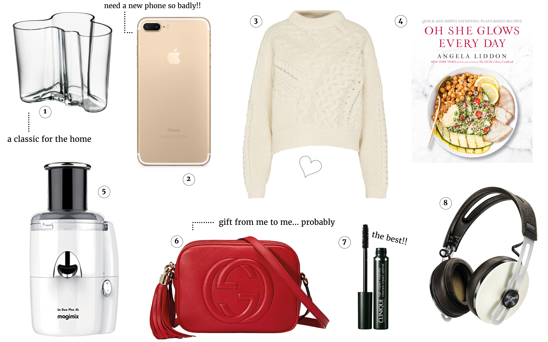 Birthday wishlist, Gucci Soho Bag, iPhone 7, Magimix Le Duo, Sennheiser MOmentum, Alvar Aalto vase