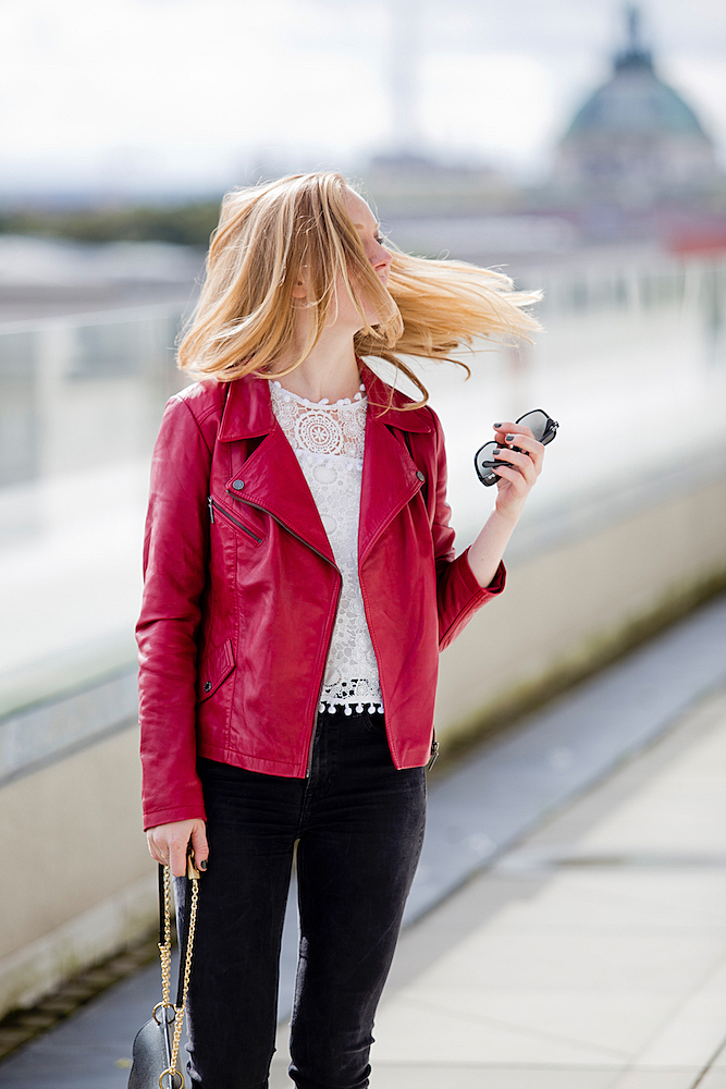 pompom top red leather jacket louboutins pigalle