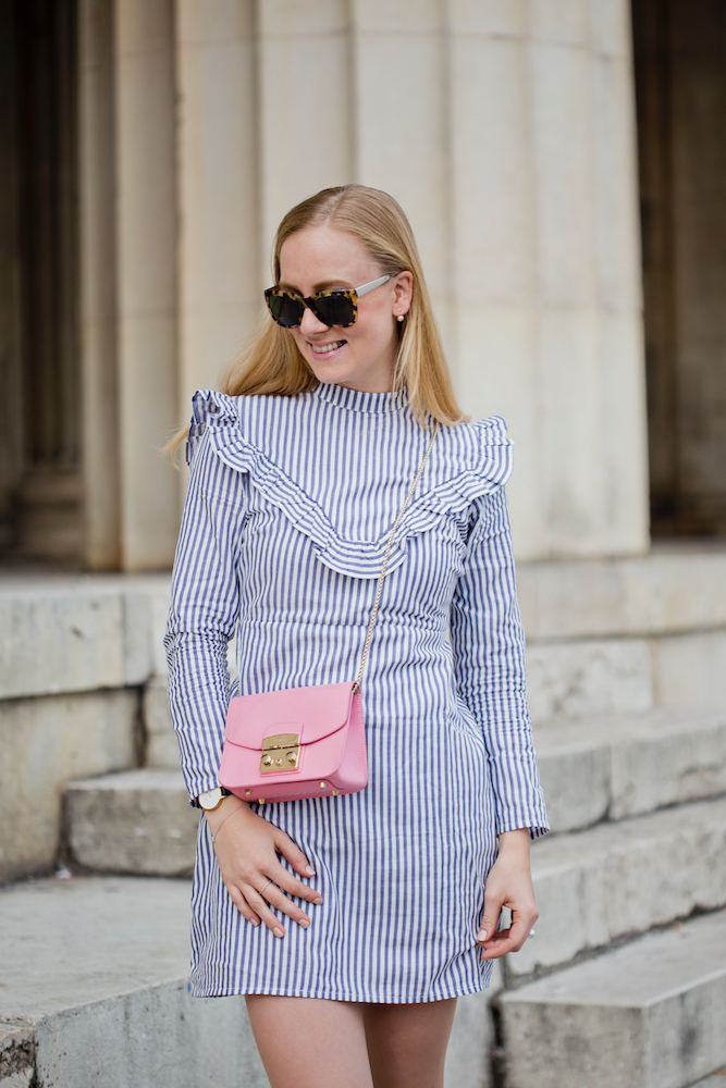 asos ruffle dress in cotton stripes furla metropolis asos glitter bow ballet pumps
