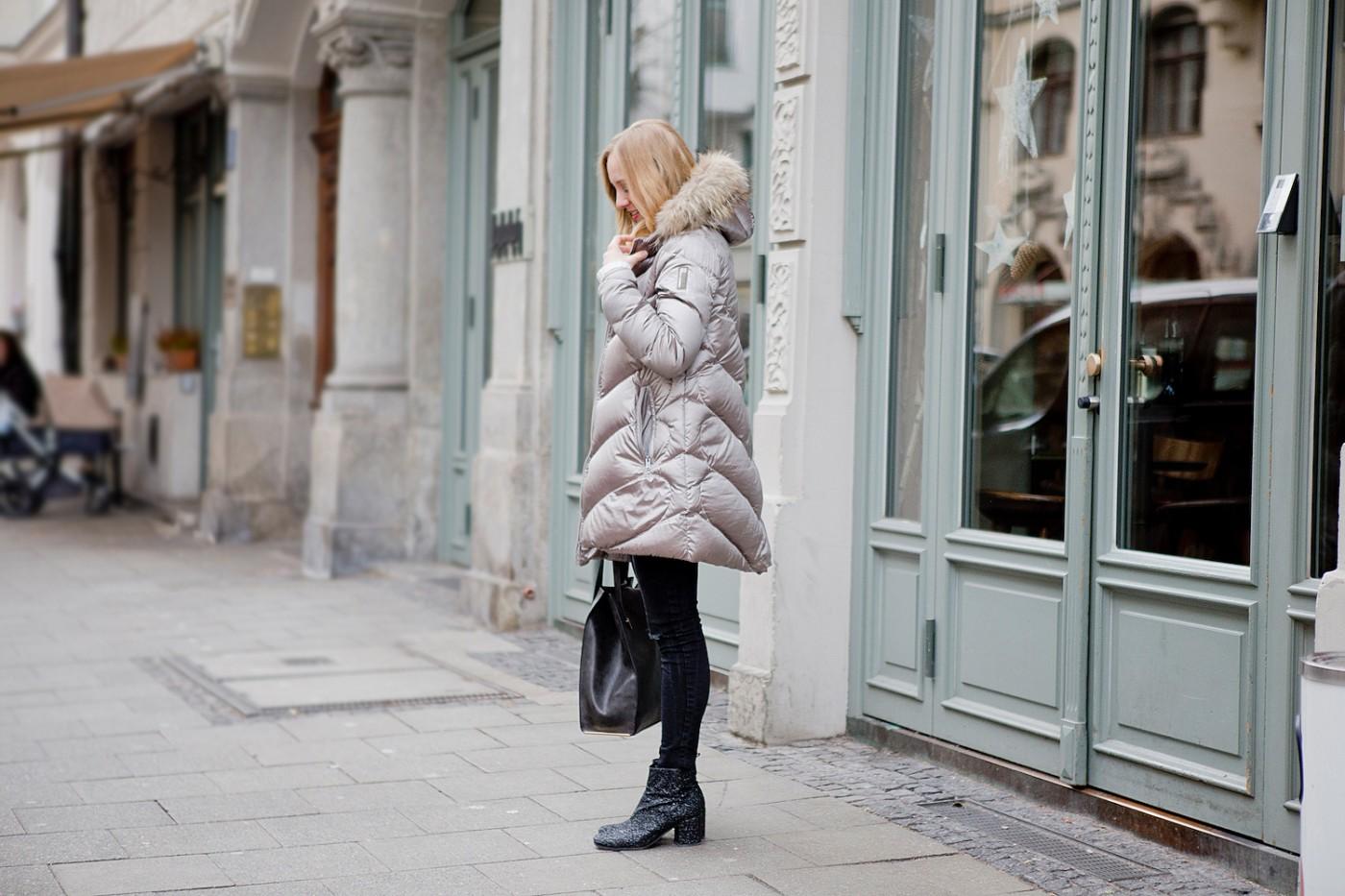 bomboogie jacket metallic _ kennel schmenger glitter boots _ steve madden bag