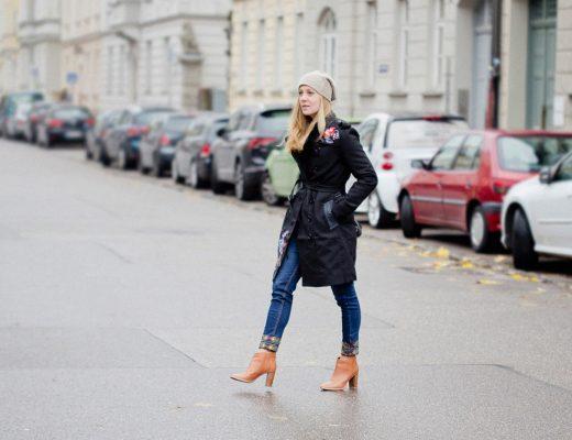 desigual coat _ desigual jeans embroidered _ ted baker boots _ miu miu bow bag