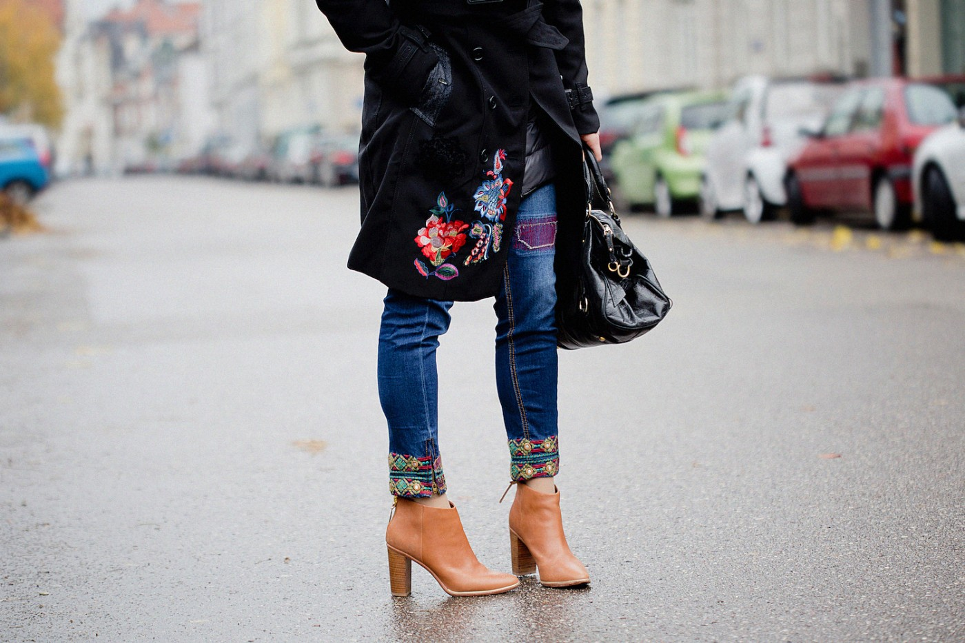 desigual coat _ desigual jeans embroidered _ ted baker boots _ miu miu bow bag