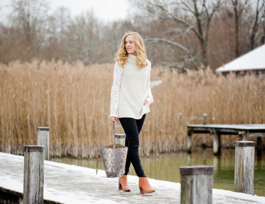 winter look _ winter outfit _ lace blouse _ sleeveless knit top comma _ gina tricot jeans _ Ted Baker boots _ Oasis bag