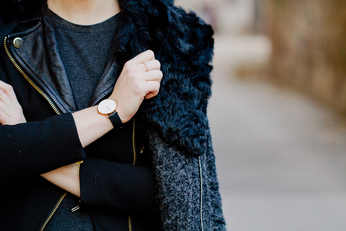 The golden bun - daniel wellington watch black fishnet tights, biker look, topshop dress