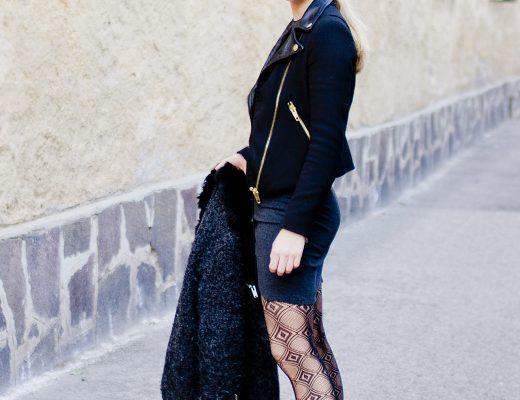 The golden bun - daniel wellington watch black fishnet tights, biker look, topshop dress