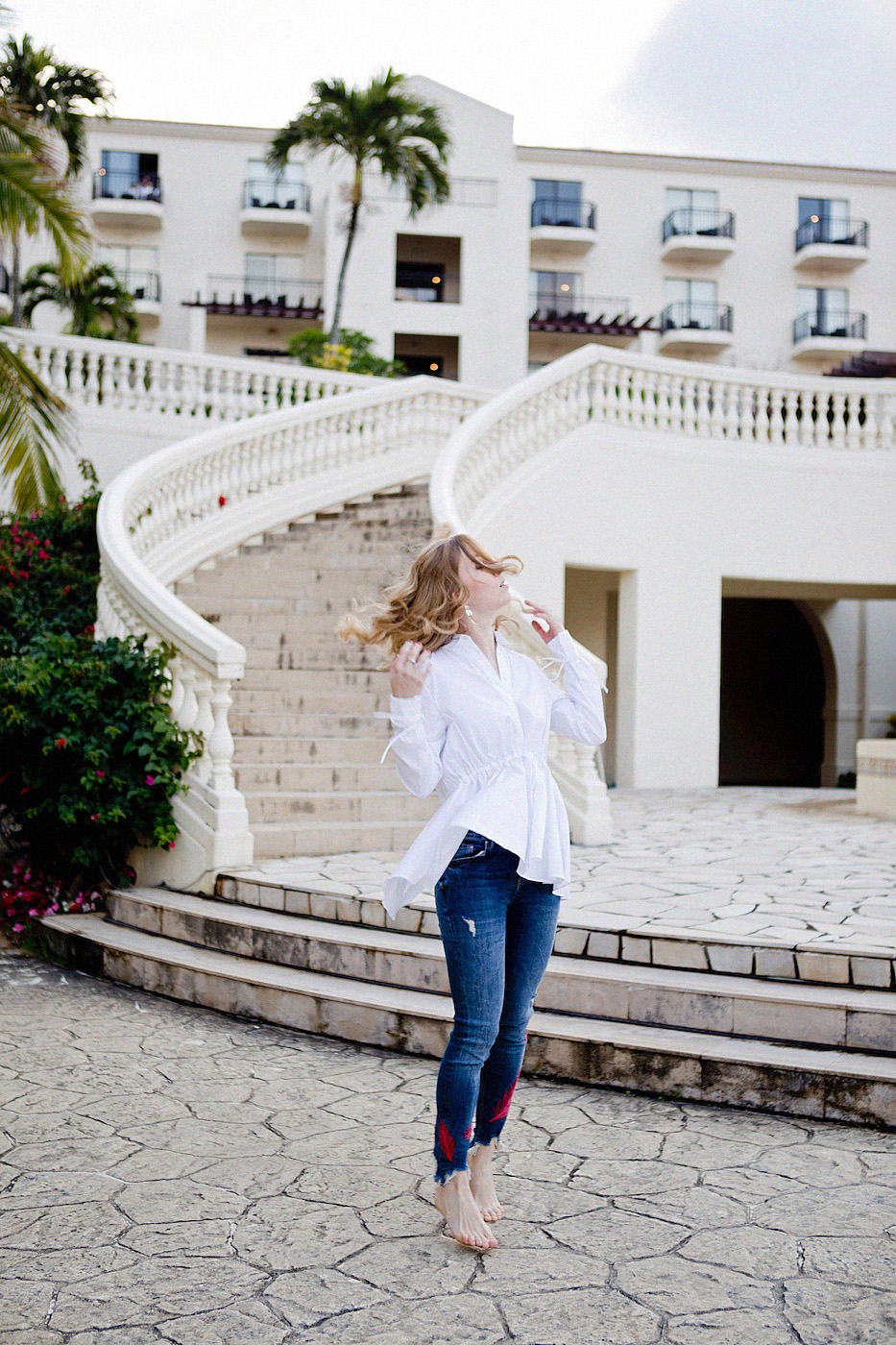 the golden bun - hotel nikko alivila okinawa - jeans with embroidery zara