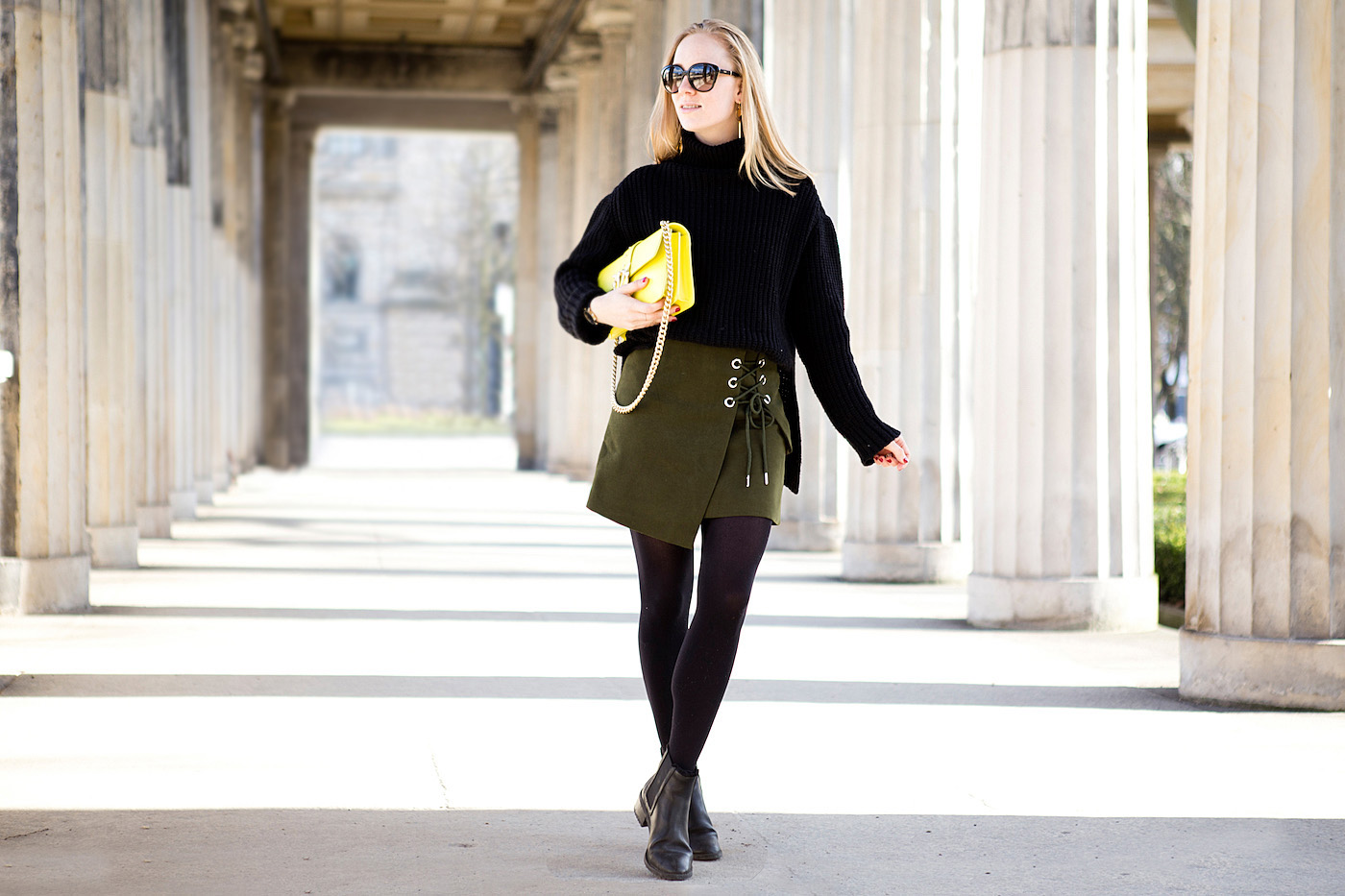 the golden bun - olive suede leather skirt chicwish, pinko love bag, madeleine issing jewelery