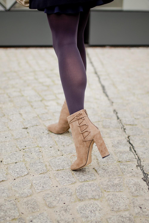 light suede boots aldo _ peplum skirt _ cashmere pullover _ celine bag