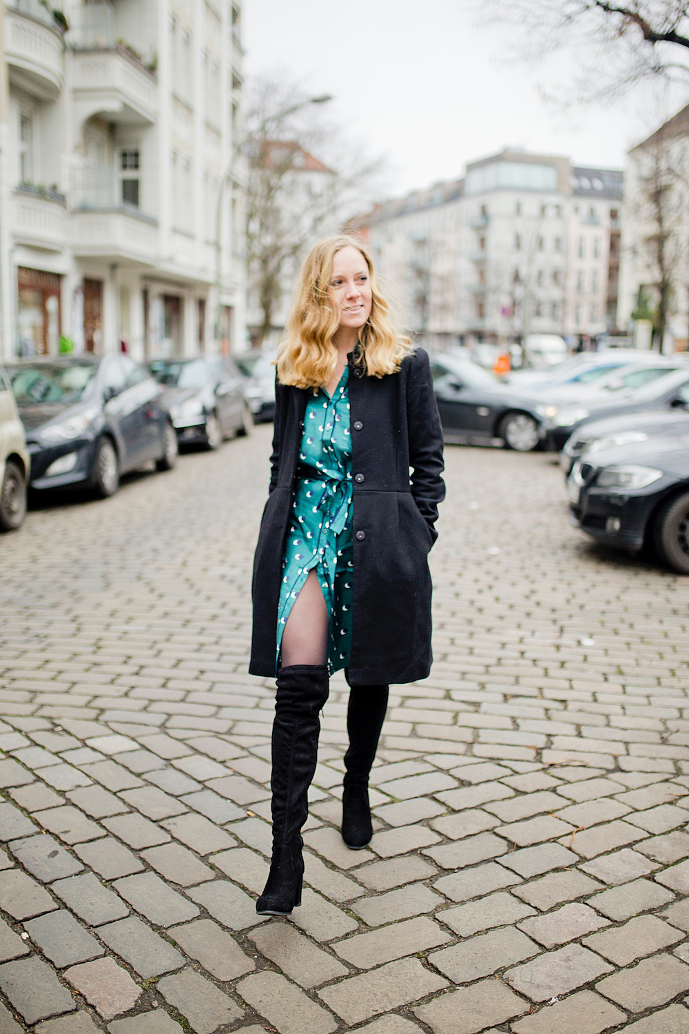 pyjama silk dress biker jacket winter boots berlin blogger