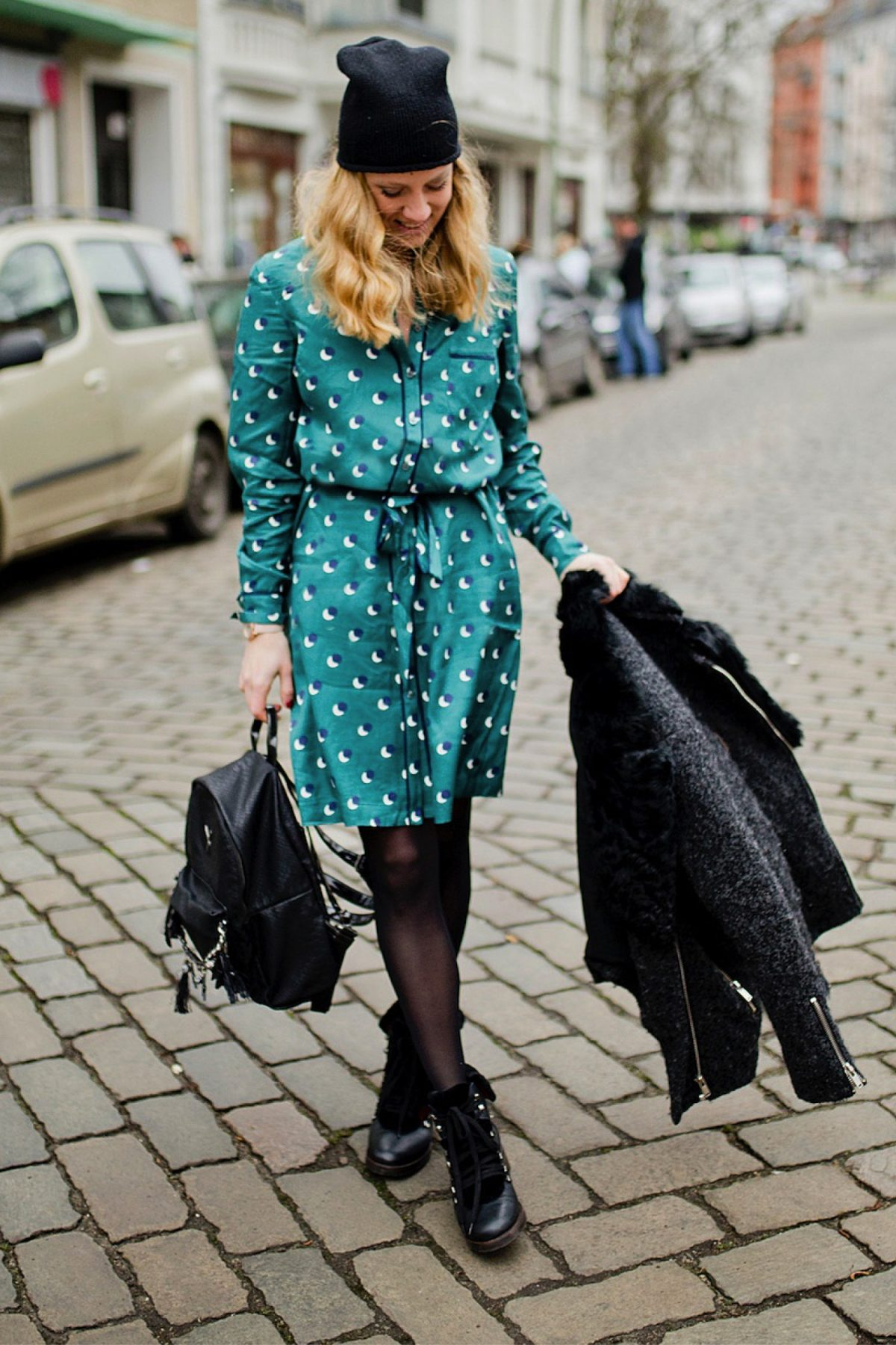 pyjama silk dress biker jacket winter boots berlin blogger