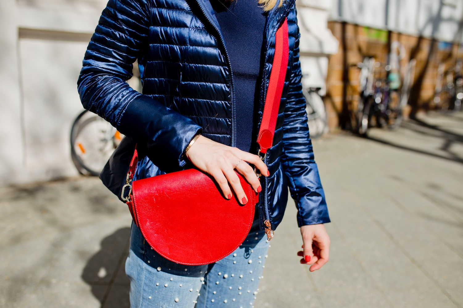 spring look bomboogie down jacket spring red liebeskind bag