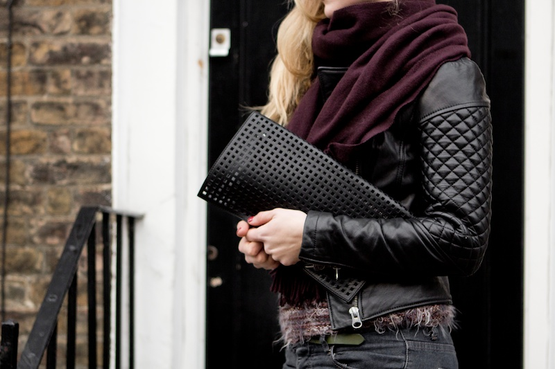 Out and about in London | Black leather jacket and a bordeaux Acne scarf