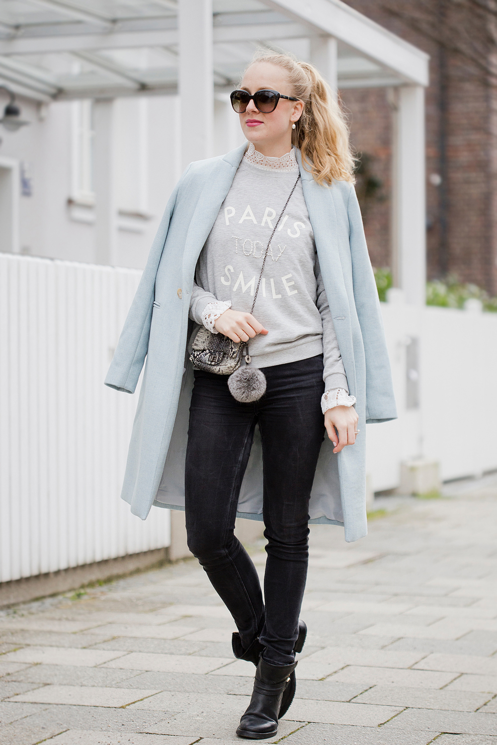 Paris today, smile! promod baby blue coat sweater