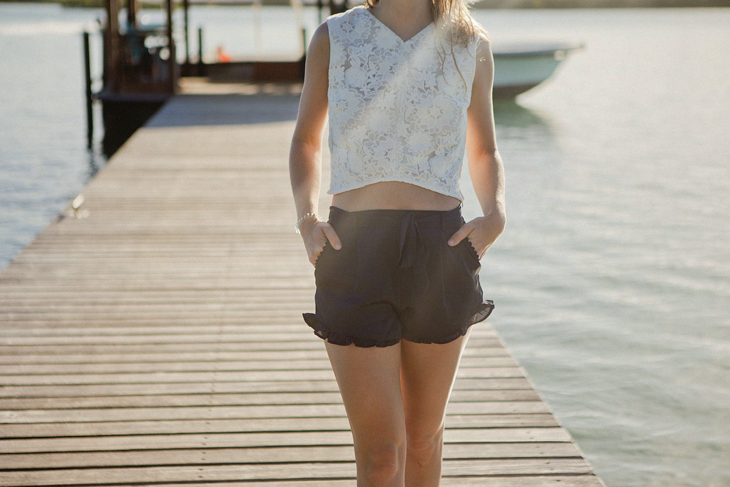 Summer shorts with frills & crop top