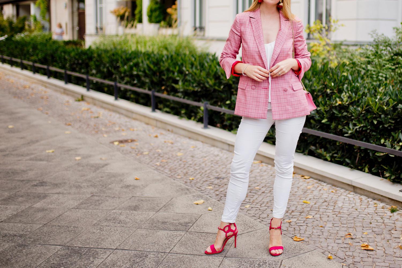 pink blazer white jeans pink sandals