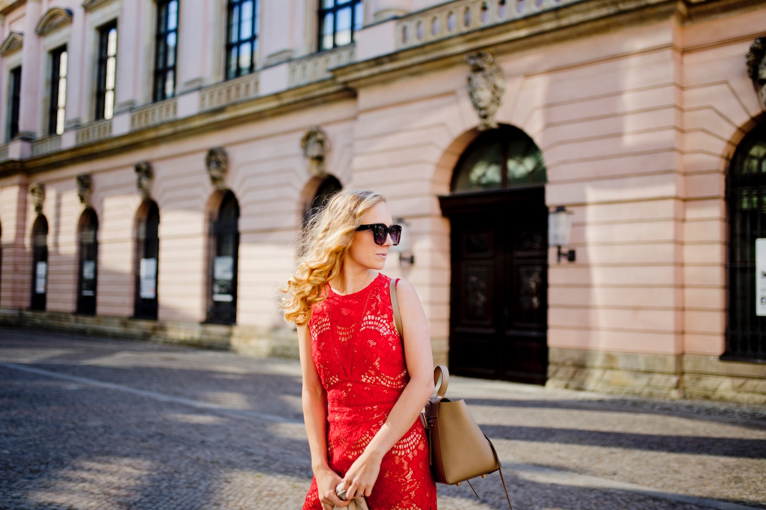 red-lace-dress-celine-belt-bag
