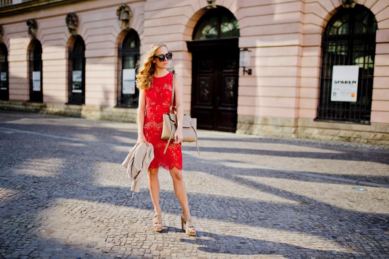 red-lace-dress-celine-belt-bag