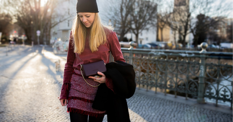 All the red tones |peplum top & bouclé skirt