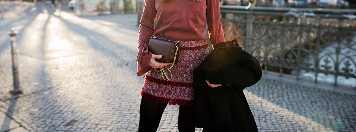 All the red tones | peplum top & bouclé skirt