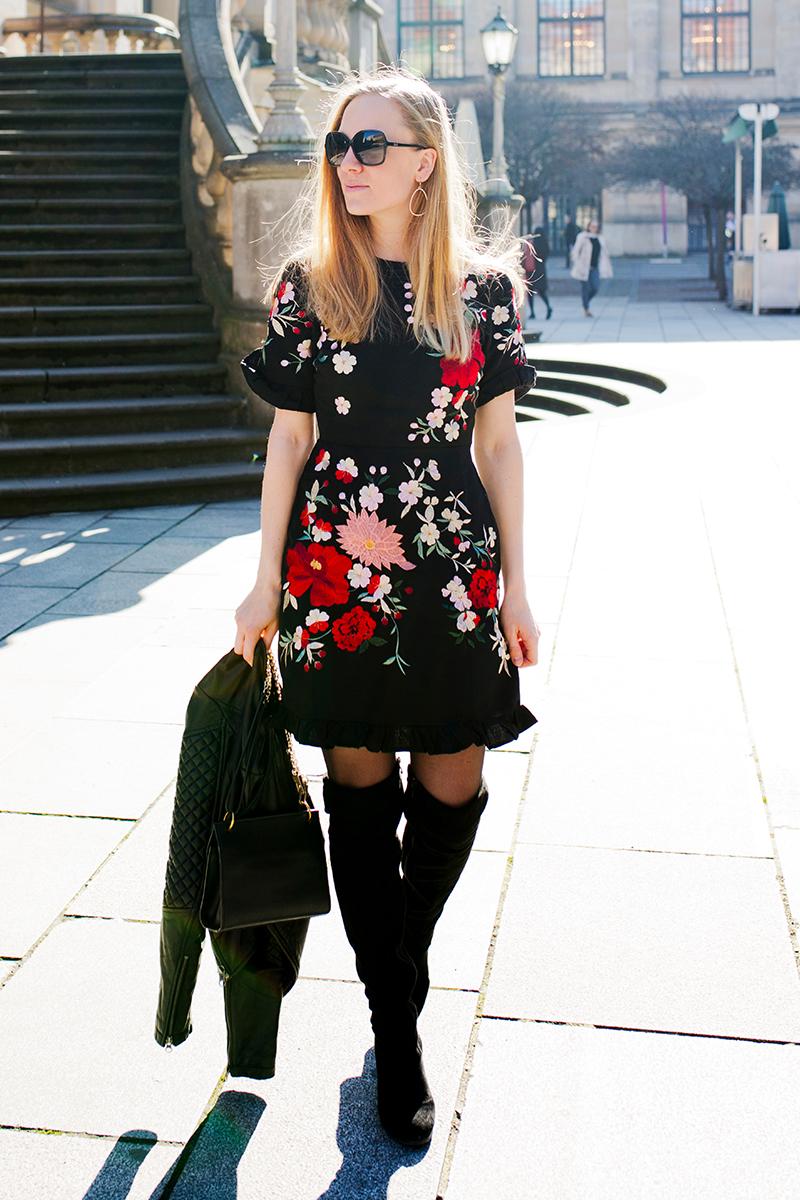 www.thegoldenbun.com |Asos embroidered dress black overknees look spring transition