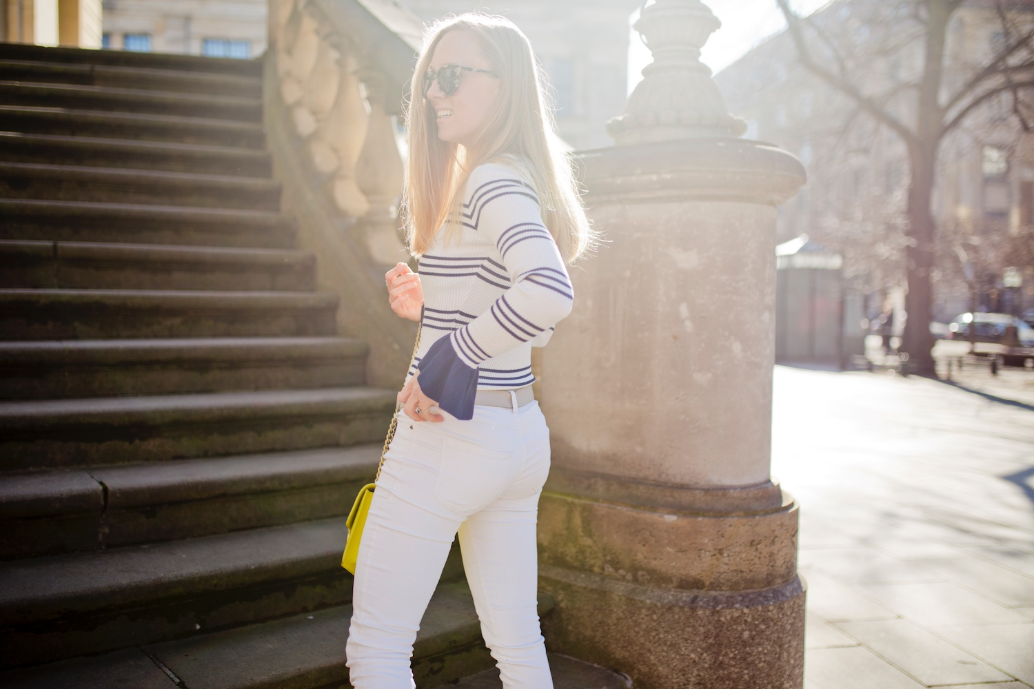 www.thegoldenbun.com | how to style white pants spring striped body shirt