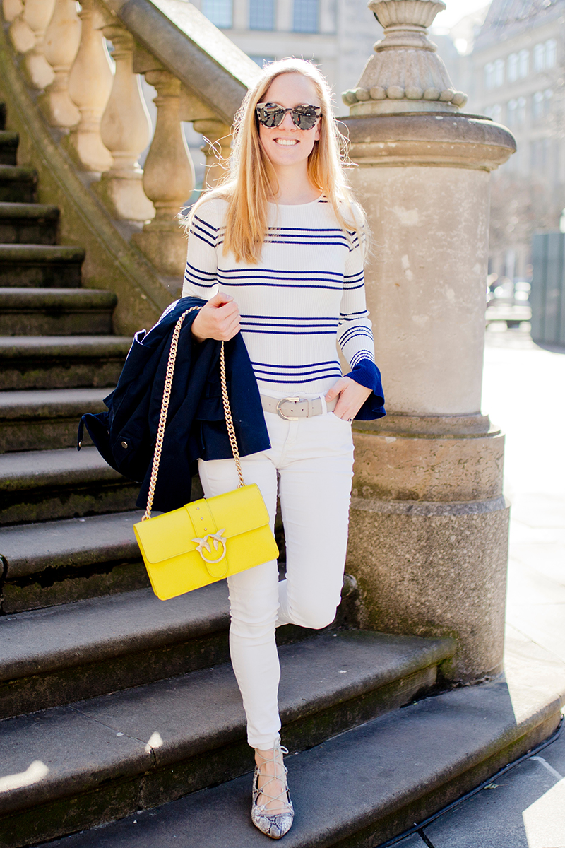 www.thegoldenbun.com |how to style white pants spring striped body shirt