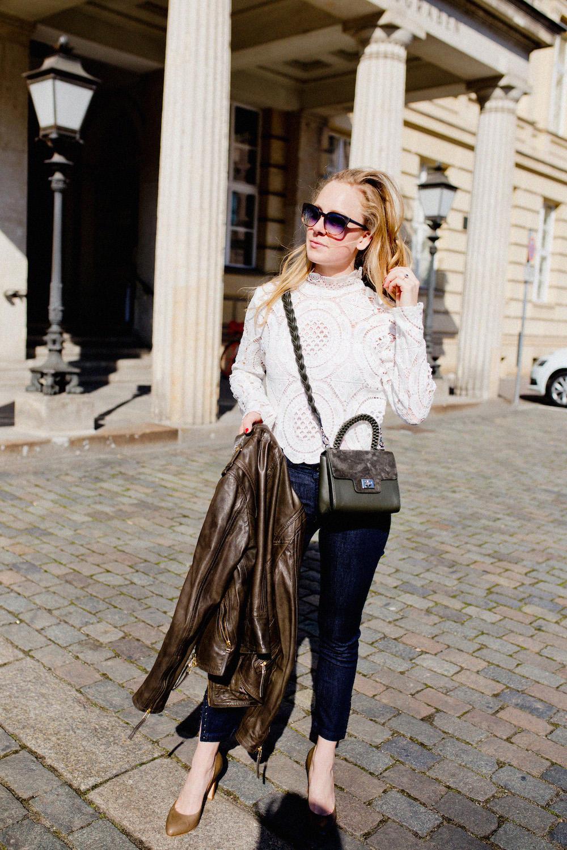 www.thegoldenbun.com | Lace crop top - Adax Bag - Joop Jeans - Peperosa Pumps - More & More Leather Jacket