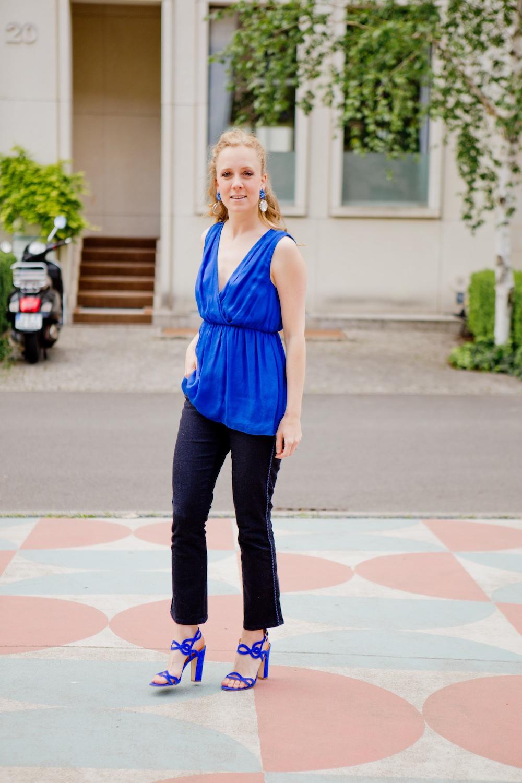 www.thegoldenbun.com | blue silk top hallhuber more more jeans