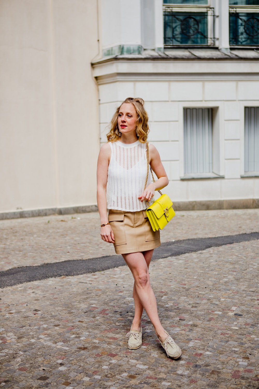 www.thegoldenbun.com   nude fake leather skirt Zara red mango crochet top
