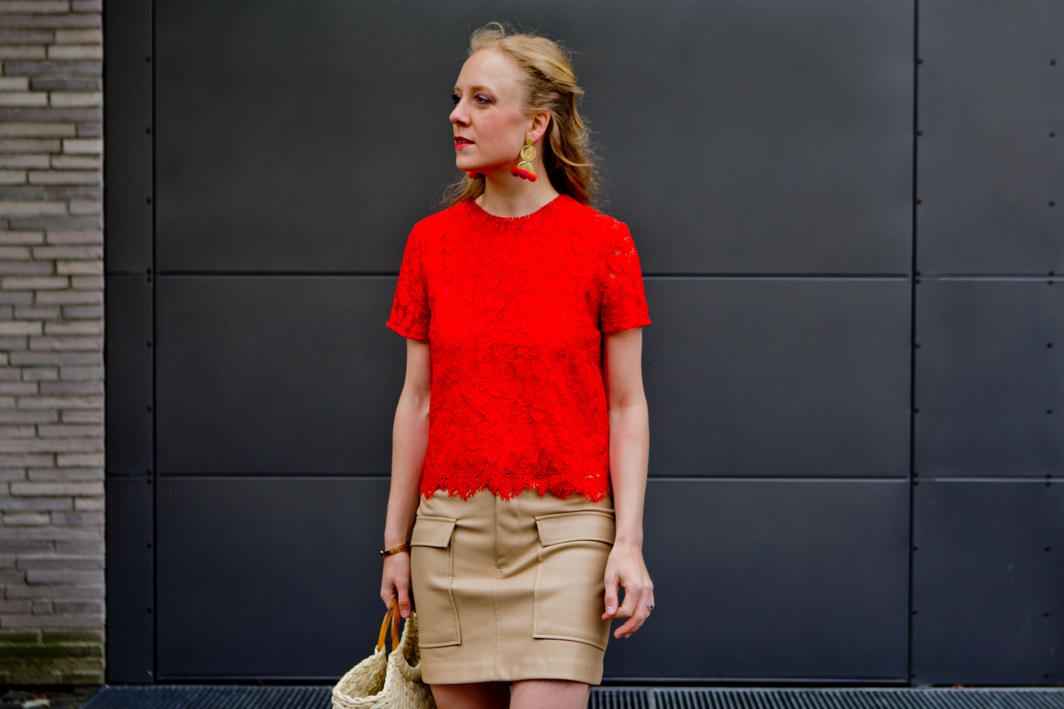 www.thegoldenbun.com | nude fake leather skirt Zara red mango lace top