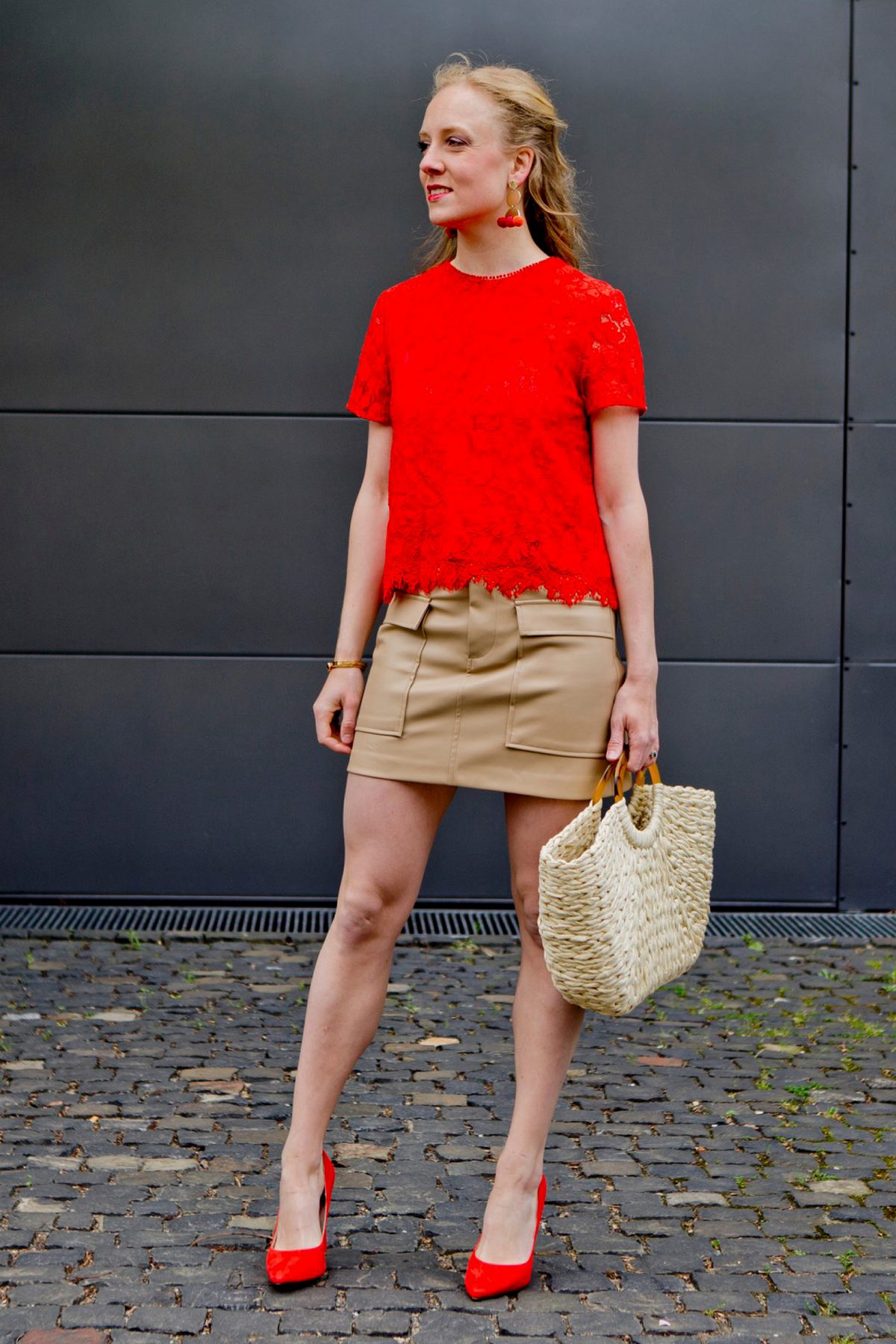 www.thegoldenbun.com | nude fake leather skirt Zara red mango lace top