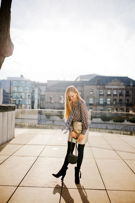 Dotted chiffon blouse + metallic skirt + Pura Lopez boots | www.thegoldenbun.com